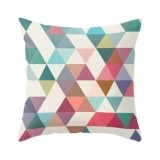 Geometric Suedette Triangle Cushion - Teal