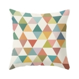 Geometric Suedette Triangle Cushion - Lime