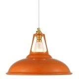 Dulwich Industrial Pendant Light - Orange