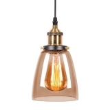 Factory Glass Beaker Pendant Light - Antique Gold / Coffee