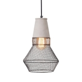Manhattan Torch Mesh & Concrete Pendant Light, Black