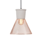 Manhattan Mesh & Concrete Pendant Light, Copper