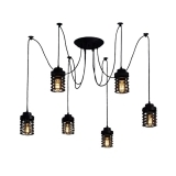 Spider Chandelier Pendant Lights with Harbour Cage - Black