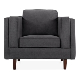 Edgar Armchair, Fabric Upholstered, Dark Grey