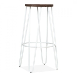 Hairpin High Bar Stool with Wood Seat Option - White 76cm