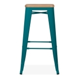 Tolix Style Stool with Natural Wood Seat - Teal 75cm