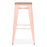 Tolix Style Stool with Natural Wood Seat - Pastel Pink 75cm