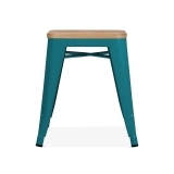 Tolix Style Metal Low Stool with Natural Wood Seat - Teal 45cm