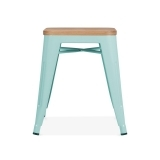 Tolix Stool Powder Coated with Natural Wood Seat - Duck Egg 45cm