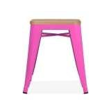 Tolix Stool Powder Coated with Natural Wood Seat - Hot Pink 45cm