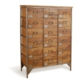 18-Drawer Apothecary Cabinet, Mango Wood and Steel