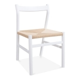Knightsbridge Dining Chair - White / Natural Seat