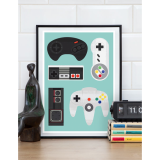 Video Gamer Retro Framed Print - Multi-coloured