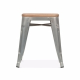 Tolix Style Metal Low Stool with Wood Seat Option - Galvanised 45cm