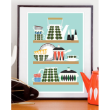 Skandi Kitchen Retro Print - Multi-coloured