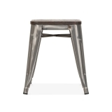 Tolix Style Metal Stool with Solid Elm Wood Seat - Gunmetal 45cm