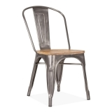 Tolix Style Metal Side Chair with Wood Seat Option - Gunmetal