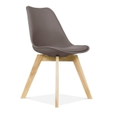 Warm Grey Dining Chairs With Solid Oak Crossed Wood Leg Base