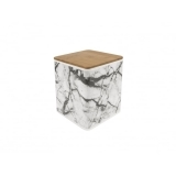 Marble Storage Tin with Lid - White