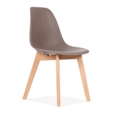 DSW Dining Chair with Crossed Wood Legs - Warm Grey