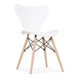 Wave Dining Chair with DSW Style Leg - White