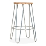 Hairpin Stool with Wood Seat Option - Galvanised 66cm
