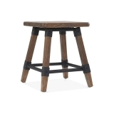 Bastille Square Low Stool - Brown Wood 45cm