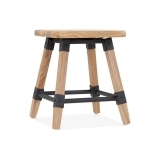 Bastille Square Low Stool - Natural Wood 45cm