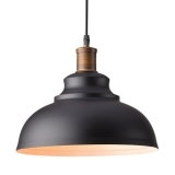 Metal Dome Pendant Light - Matte Black