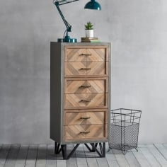 Chevron Retro Tall Chest of Drawers, Metal and Oak