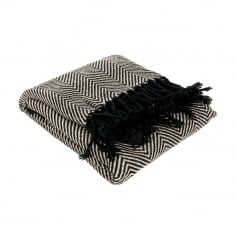 Chevron Recycled Cotton Throw, Black and Cream