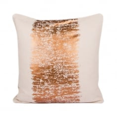 Malini Metallic Stripe Cotton Cushion, Cream and Copper