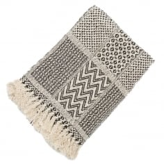 Malini Patchwork Recycled Cotton Throw, Black and Cream