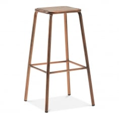 Brooklyn Stool with Solid Wood Seat - Copper 75cm