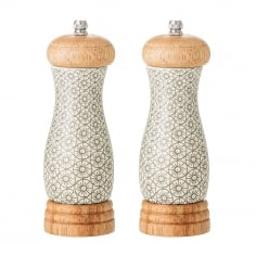 Cecile Ceramic Salt and Pepper Mill Set, Grey