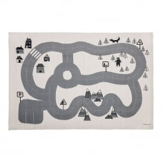 Childrens Racetrack 100% Cotton Rug, Cream