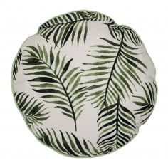Palm Leaf Round Cotton Cushion, Green
