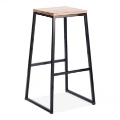 Consec Metal Stool with Natural Wood Seat - Black 75cm