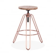 Hairpin Talbot Metal Swivel Stool, Solid Elm Wood, Copper 62-76cm