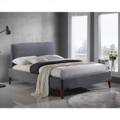 Knightley Double Bed, Fabric Upholstered, Grey