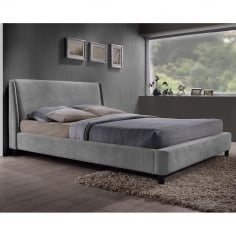 Luella King Size Bed, Fabric Upholstered, Grey