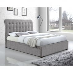 Conan Button Back Super King Bed, Fabric Upholstered, Light Grey