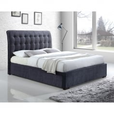 Conan Button Back Super King Bed, Fabric Upholstered, Dark Grey