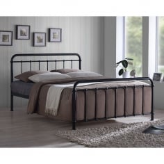 Arabella Metal Hospital Style Double Bed, Black