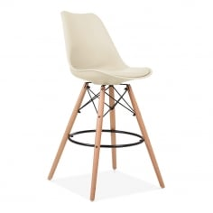 Soft Pad Bar Stool with Backrest, DSW Style Natural Wood Leg, Cream 65cm