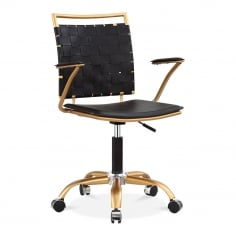 Ryder Lattice Office Chair, Black Faux Leather, Brass