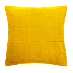 Geometric Quilted Velvet Cushion, Mustard