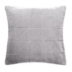 Geometric Quilted Velvet Cushion, Grey