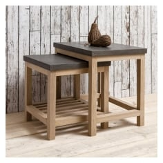 Arden Nest of Tables, Oak and Concrete Effect