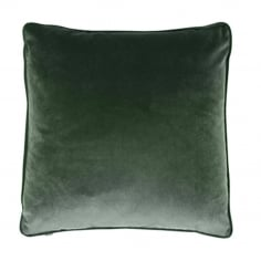 Piped Edge Velvet Fabric Cushion, Dark Green